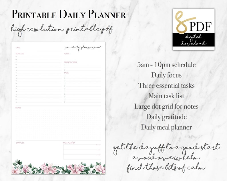 Pink Floral Daily Planner Printable PDF. Schedule Gratitude image 0