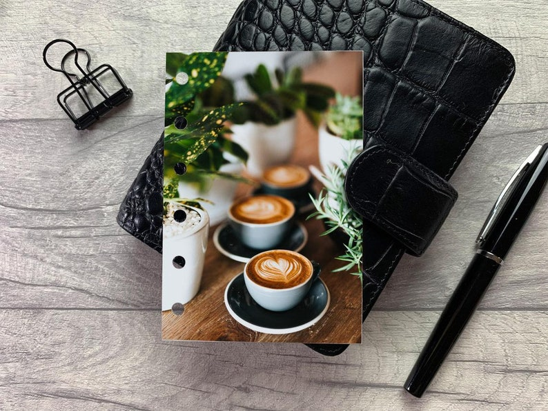 Latte Art and Foliage  Coffee Dashboard  Fits A5 B6 image 1