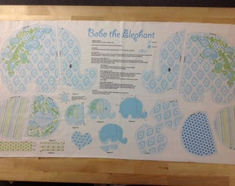 Bobo Baby the Elephant, Cotton Fabric Panel, by Benartex, Contempo Studio, by Maggie and Flo Crafts, Stuffed animal, Quilting