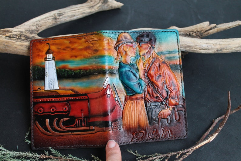 Leather passport cover-Journey-hand tooled leather doc holder