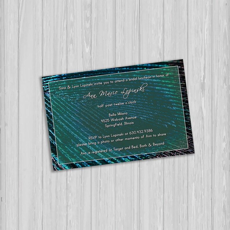 36f844c9e2a6 Peacock Theme Bridal Shower Invitation