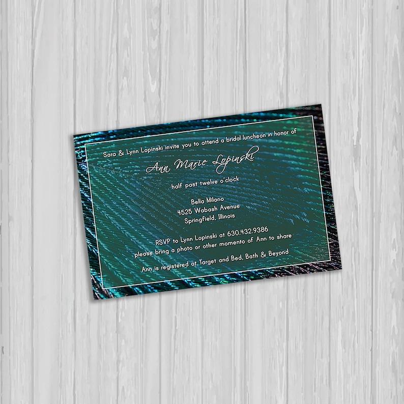 Peacock Theme Bridal Shower Invitation