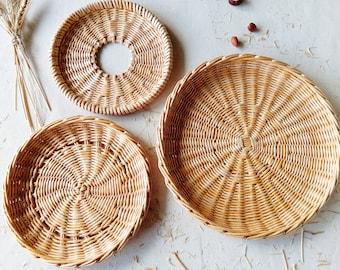 17 Xl Round Open Weave Wall Basket Woven Wicker Flat Etsy