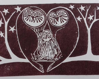 Chocolat brun hiboux - Original lithographiée - Hoolet print - Lovenest - cadeau de pendaison de crémaillère - cadeau pour amoureux des oiseaux - cadeau pour la famille-amoureux de la nature