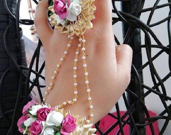 Hath Phool Pair/Hath panja/Hand jewelry/Gota jewelry/Flower jewelry/Indian jewelry/Pakistani jewelry/Bangladeshi jewelry/Arabic