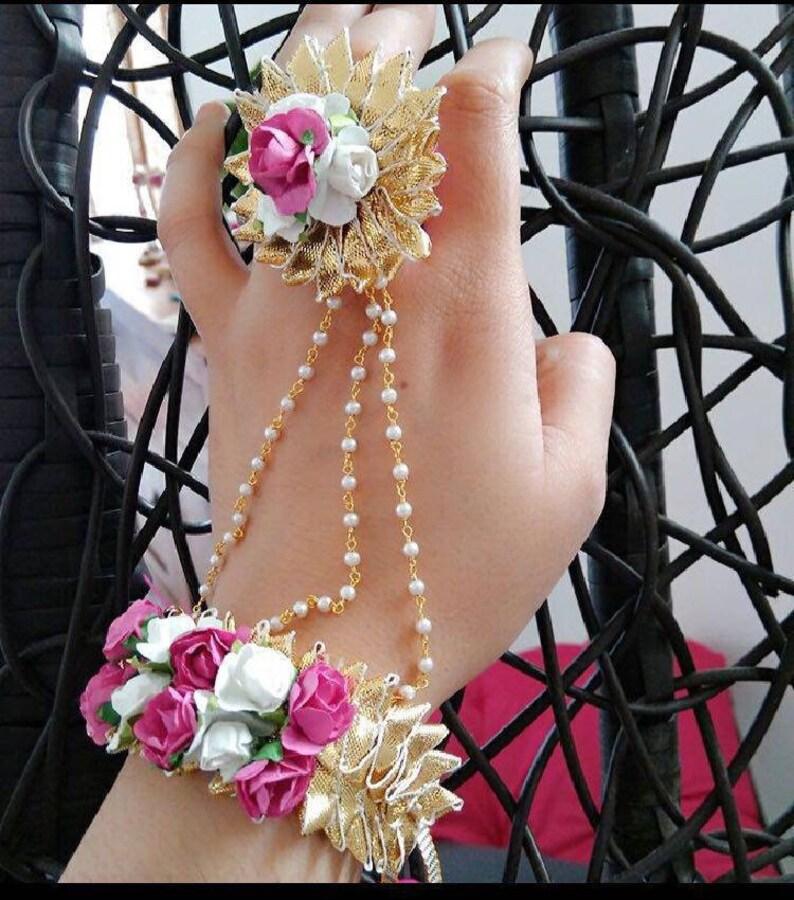 c2f1319e0 Hath Phool/Hath panja/Hand jewelry/Gota jewelry/Flower   Etsy