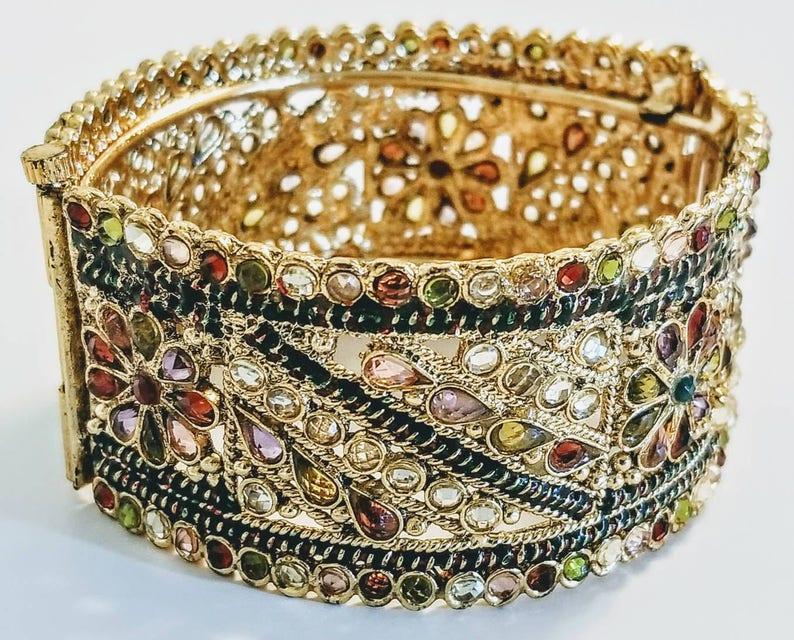 34f5547f58711 Indian kada/Indian cuff bracelet/Bangle/Hinged bracelet with pin/  Multi-colored gemstones/Meenakari bracelet/Kundan bracelet/22K Gold plated