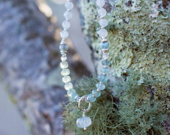 Unique Handmade Beaded Aquamarine + Moonstone &  faceted Larimar Mala Necklace with Solid Silver.