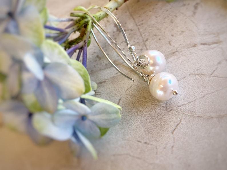 Fresh Water Pearl Earrings Silver and Pearl Elegant Long Drop Pearl Earrings