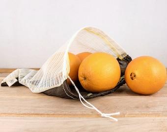 zero waste upcycled produce bags, vegetable bags, reusable, shopping bag, grocery bag, market bag, eco-friendly, drawstring, veggie bag