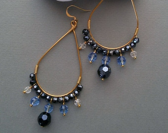 Gold Plated Teardrop Hoop Earrings with Blue Crystal Glass Beads