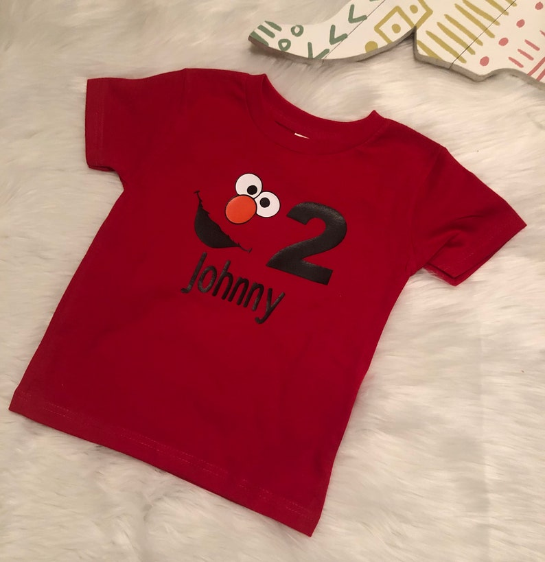 Elmo Birthday Shirt Customized With Childs Name
