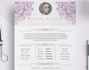 Floral Resume Template Flower CV Purple Hydrangea Creative Design