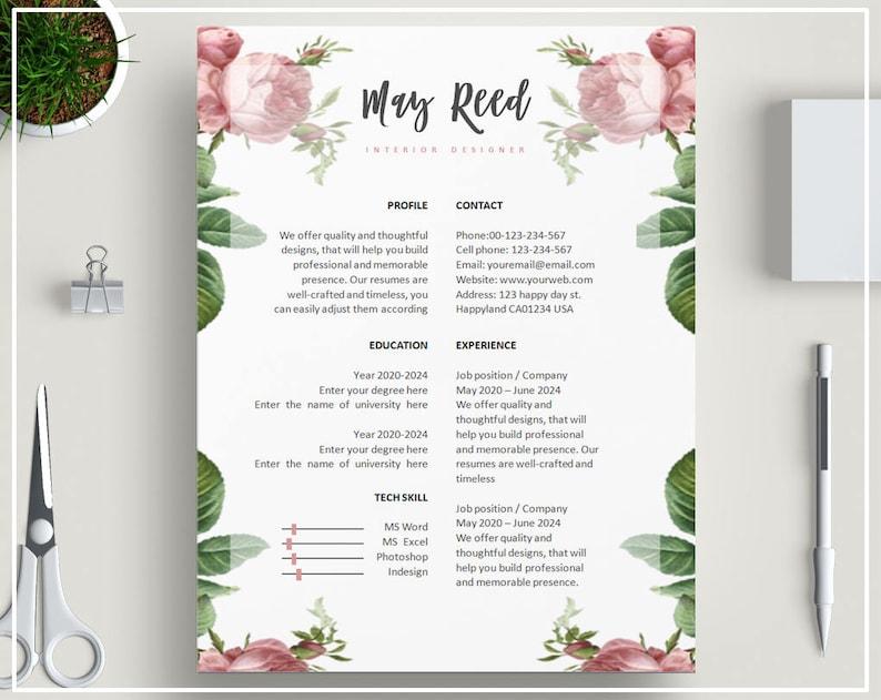 Pink Floral Resume Template CV