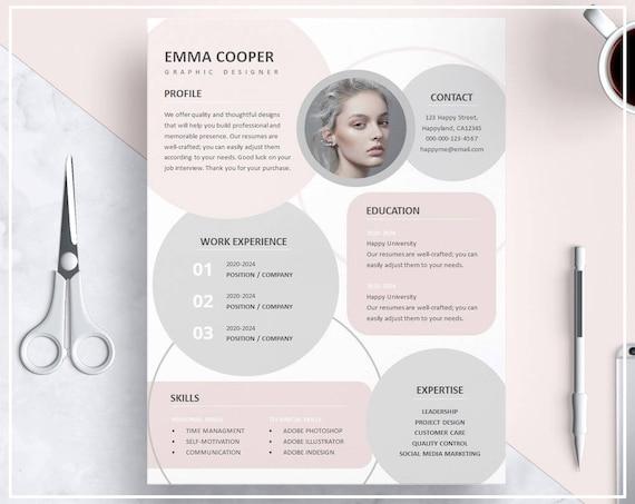 Lebenslauf Vorlage Rosa Pink Cv Vorlage Design Kreative Etsy
