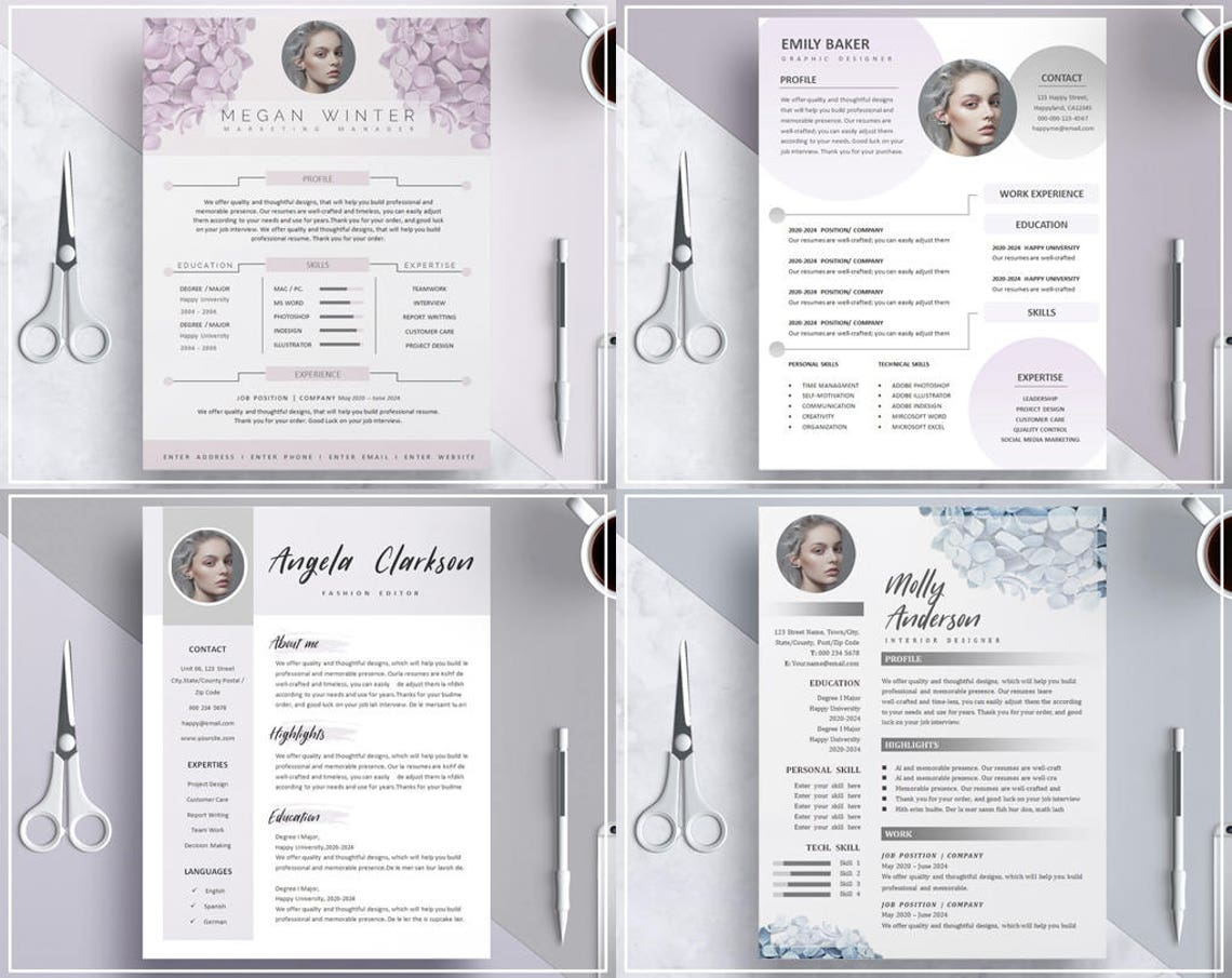 Nude Pink Resume Template/ CV Template/ Professional