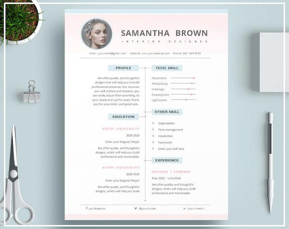 Plantilla De Curriculum Vitae De Rosa O Rosa Cv Plantilla Etsy