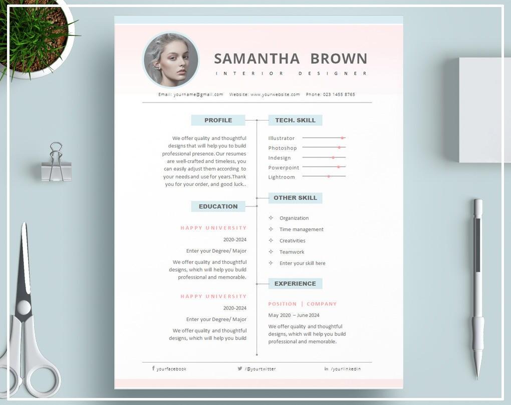 Plantilla de curriculum vitae de rosa o rosa CV plantilla / | Etsy