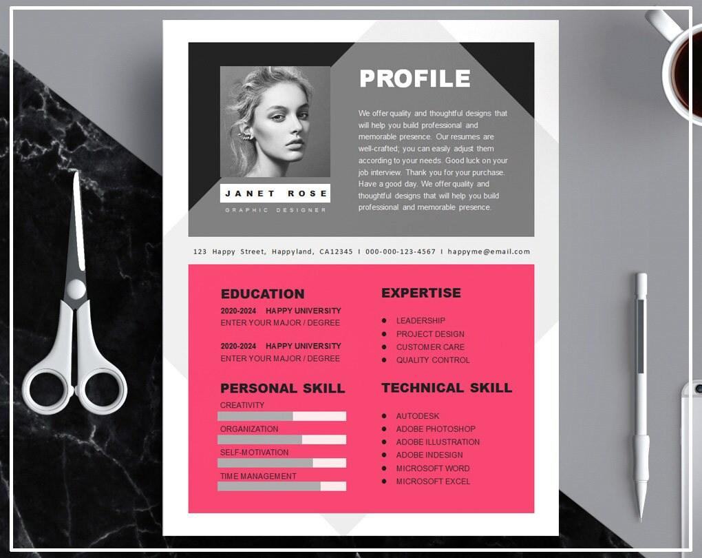 Caliente rosa curriculum vitae plantilla / plantilla de CV   Etsy