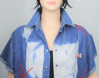 Reworked cropped bleached denim shirt with red stripes - 0versized