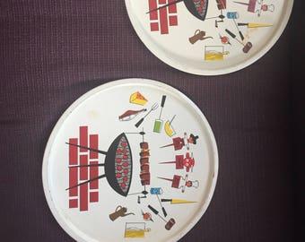 Mid century metal picnic plates