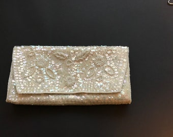 Sequins and beaded clutch evening bag