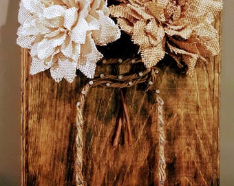 Mason Jar String Art with Burlap Flowers