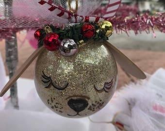Dog ornament, glitter ornament, christmas ornament,for dog lover, dog present, gift for pets, tan dog