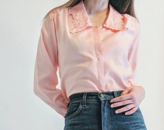 1980s Pastel Pink Embroidered Collar Blouse