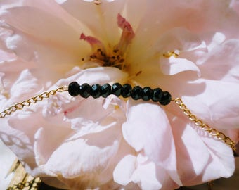 Bracelet - Fine chain faceted spinel and Gold Filled