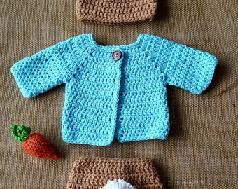 Peter Rabbit Character Inspired Baby/Toddler Outfit w/carrot