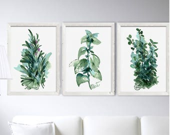 Kitchen Herbs Prints Set 3 Watercolor Painting Leaves Mint Rosemary Thyme Plant Decor Poster Minimalist Botanical Drawing Wall Decoration