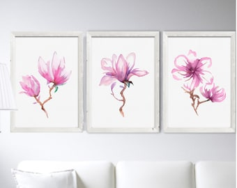 Pink Magnolia Wall Art Print Set 3 Pink Magnolia Painting Abstract Flower Watercolor Painting Minimalist Art Decor Living Room Tree Branch