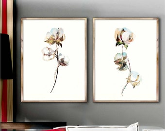 Cotton Watercolor Painting Plant Cotton Decor Poster Art Prints Set 2 Minimalist Botanical Drawing Green White Wall Decoration Gift Idea