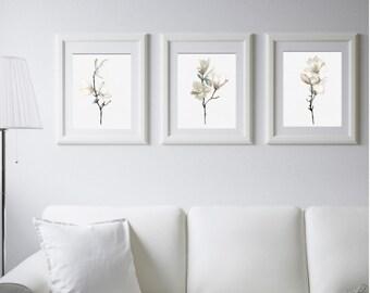 Set 3 Art Prints Magnolia Flower Wall Art White Magnolia Watercolor  Painting Living Room Decor Minimalist Art Floral Print Dine Room Decor