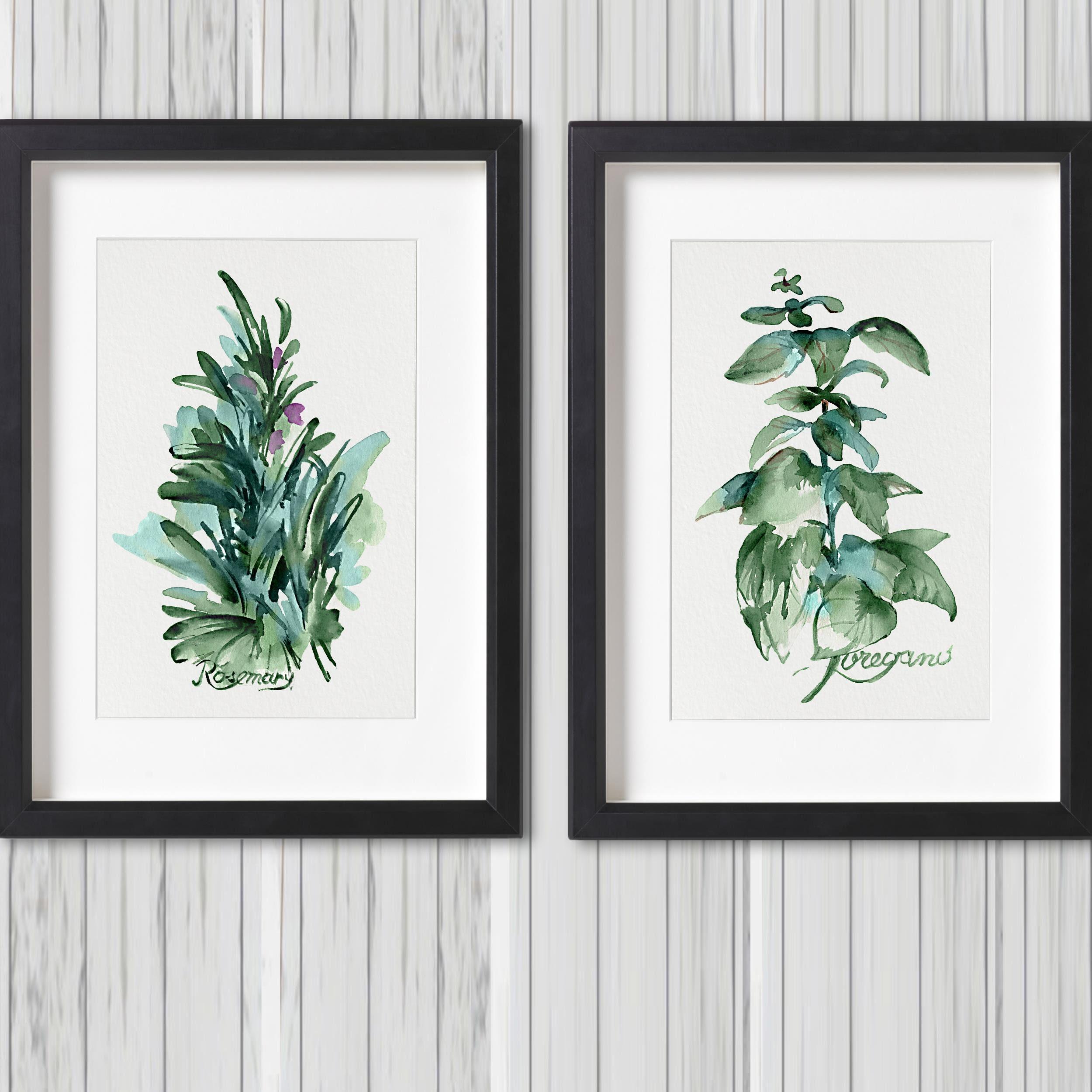 Kitchen Herbs Set 2 Art Prints Herb Painting Green Leaves