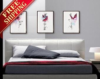 Bedroom Wall Art Painting Butterfly Wall Decor Room, Bedroom Decor Set 3 Butterfly Wall Decor Butterfly Art Print Decor Gift Idea