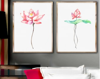 Lotus Art Prints Set of 2 Pink Flowers Watercolor Painting Abstract Flower Illustration Minimalist Art Living Room  Wall Decor Gift Idea