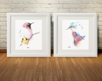 Bird Wall Art Prints Set 2 Watercolor Painting Pink Birds Decor Poster Minimalist Art Kitchen Living Room Bedroom Decoration