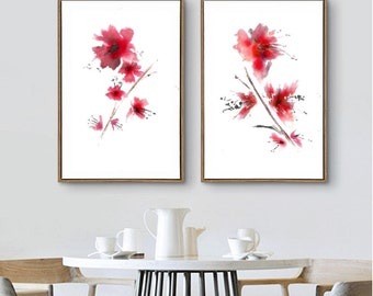 Cherry Blossom Wall Art Print Set 2 Red Cherry Flower Painting Abstract Flower Watercolor Painting Minimalist Art Decor Living Room
