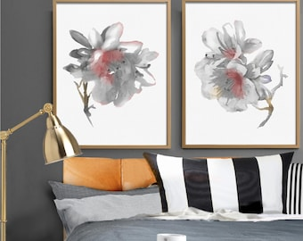 Rhododendron Art Prints Set 2 White Flower Painting Abstract Flower Watercolor Painting Minimalist Art Living Room Decor Botanical Drawing
