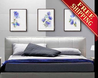 Flower Wall Art Decor Bedroom Set 3 Prints Blue Flower Watercolor Painting Abstract Floral Illustration Minimalist Art Living Room Decor