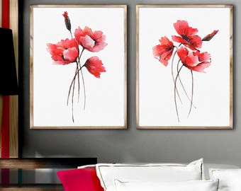 Poppies Art Prints Set 2 Red Poppies Painting Abstract Flower Watercolor Painting Minimalist Art Decor Living Room Flower Decor Poster