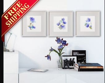 Blue Flowers Wall Art Prints Set 3 Watercolor Painting Abstract Flowers Drawing Minimalist Art Blue Living Room Decor Original Gift Idea