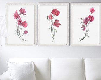 Pink Flower Sweet Pea Art Set 3 Prints Watercolor Painting Abstract Flower Drawing  Minimalist Art Illustration Pink Red Living Room Decor