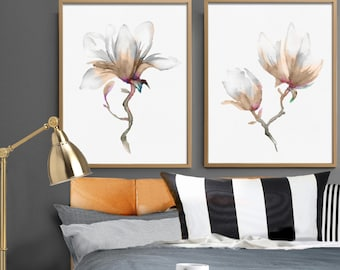 Magnolia Flower Print Set of 2 Art Watercolor Painting Floral Illustration Minimalist Art Abstract Flower Poster Bedroom Living Room Decor