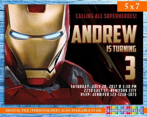 Ironman invitation ironman birthday invitation ironman etsy image 0 filmwisefo