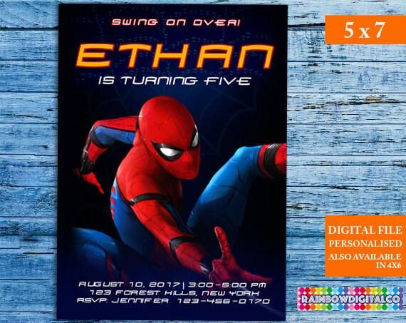 Spiderman Invitation Spiderman Invites Spiderman Birthday Etsy