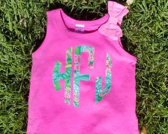 Hot Pink Baby, Toddler and Girl Tank Top with Large Monogram