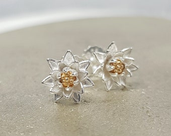 Round earrings Water lily inspired